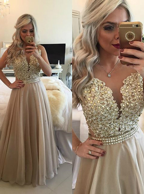 Illusion A-Line Floor Length Lace with Beadings Prom Dress