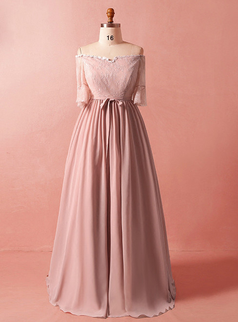 Plus Size Pink Chiffon Short Sleeve Off The Shoulder Prom Dress