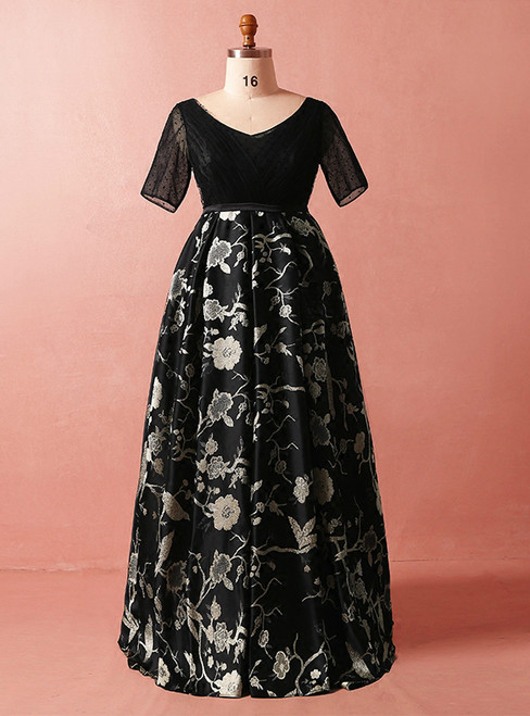 Plus Size Black Print High Waist Short Sleeve Prom Dress
