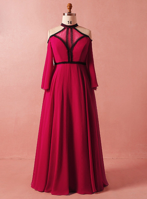 Plus Size Red Long Sleeve High Neck Backless High Waist Prom Dress