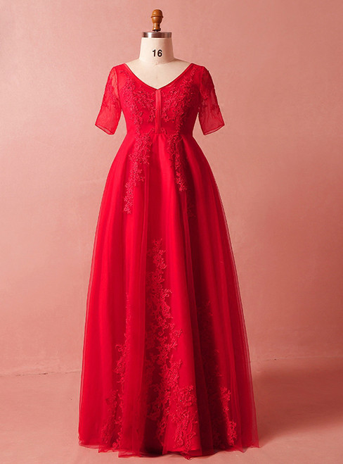 Plus Size Red Lace Tulle Short Sleeve V-neck Prom Dress