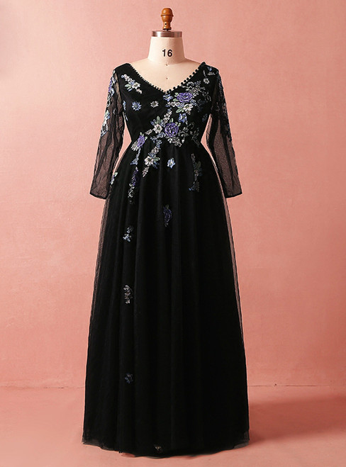 Plus Size Black Tulle Embroidery Long Sleeve V-neck Prom Dress