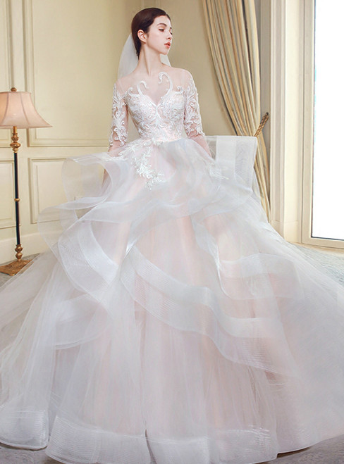 Ball Gown Ivory Tulle Long Sleeve Backless Wedding Dress