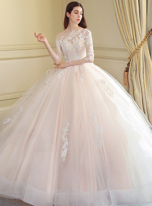 Ball Gown Long Sleeve Tulle Appliques Long Train Wedding Dress