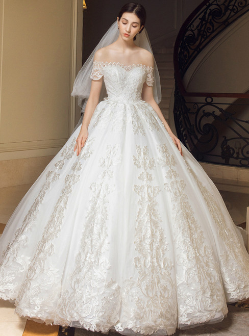 Luxury White Ball Gown Off The Shoulder Appliques Wedding Dress
