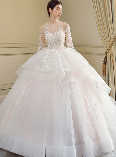 Ball Gown Long Sleeve Backless Tulle Train Wedding Dress