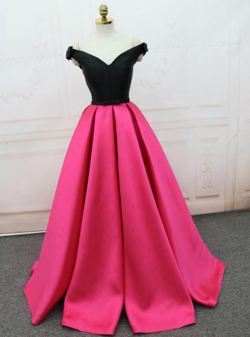 Off The Shoulder V-neck Backless Satin Prom Dress