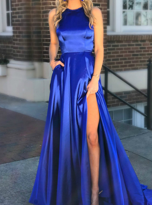 Royal Blue Halter Neck Satin with Pockets Split Blue Prom Dress