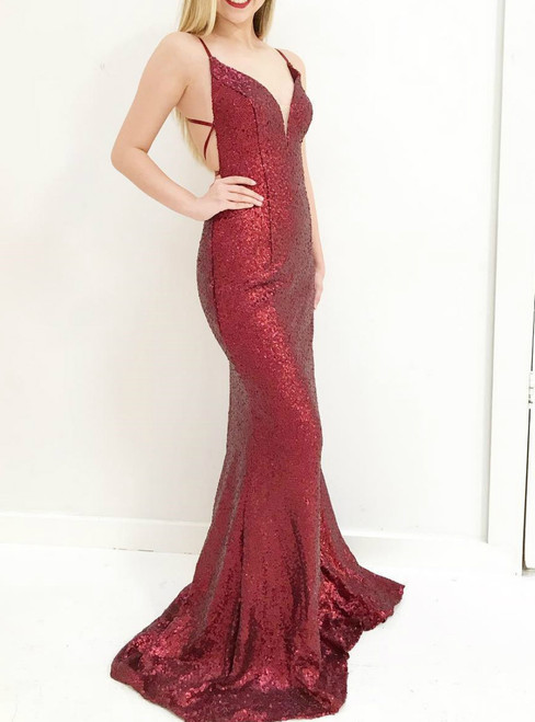Mermaid Sequins Deep V-neck With Cross Back Long Prom Dress