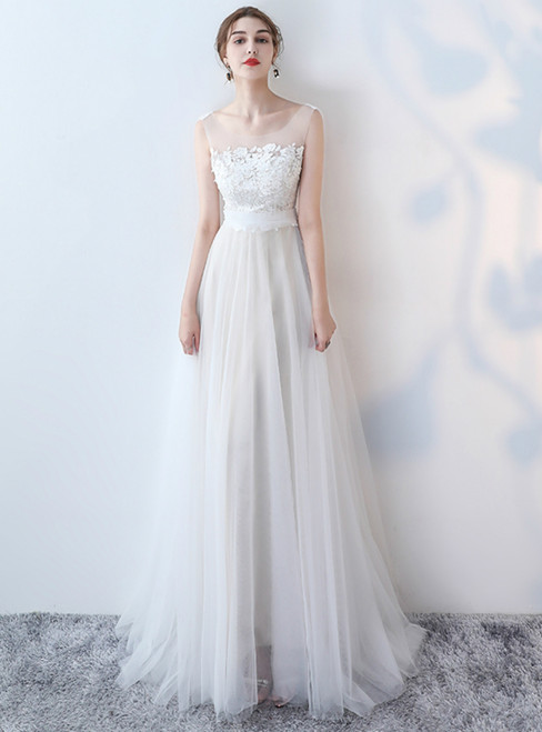 In Stock:Ship in 48 hours Overnight Shipping Simple Tulle Lace Wedding Dress