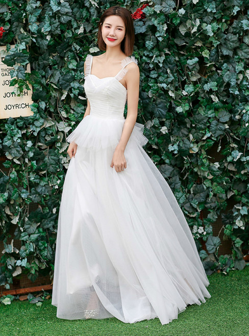 In Stock:Ship in 48 hours Quick Deilvery Simple Tulle Straps Wedding Dress