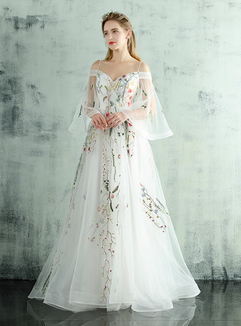 In Stock:Ship in 48 hours Ready To Ship White Print Straps Wedding Dress