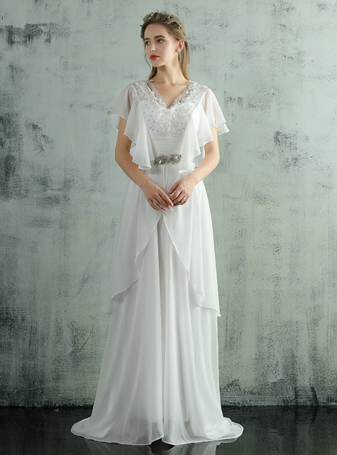 In Stock:Ship in 48 hours Ready To Ship Chiffon Backless Wedding Dress