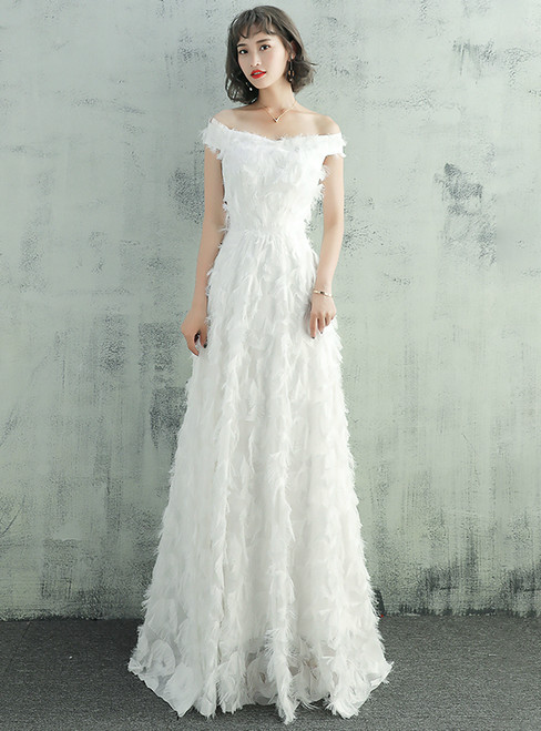 In Stock:Ship in 48 hours Ready To Ship White Off The Shoulder Wedding Dress