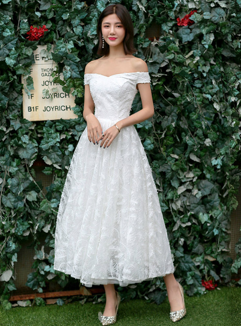 In Stock:Ship in 48 hours Ready To Ship Off The Shoulder Lace Wedding Dress