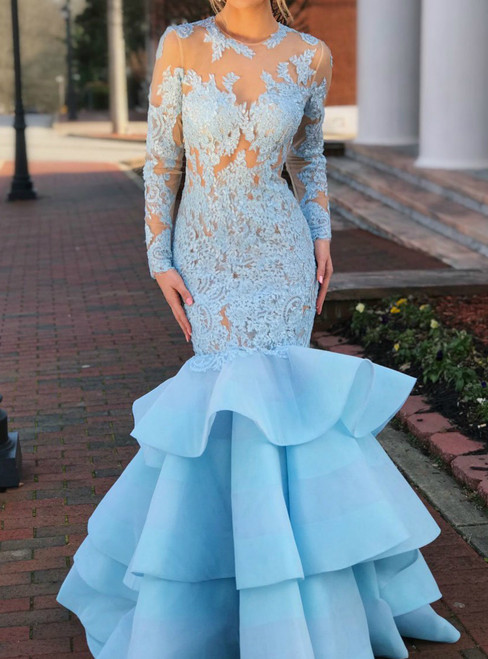 Sky Blue Long Sleeve Lace Tiered Mermaid Bodycon Prom Dress