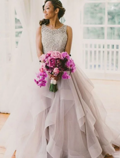 Ball Gown Sleeveless Gray Tulle Backless Wedding Dresses
