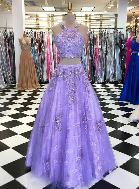 Two Piece Beaded Halter Purple Tulle Long Prom Dress