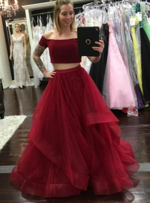 Burgundy Two Piece Tulle Off The Shoulder Prom Dress