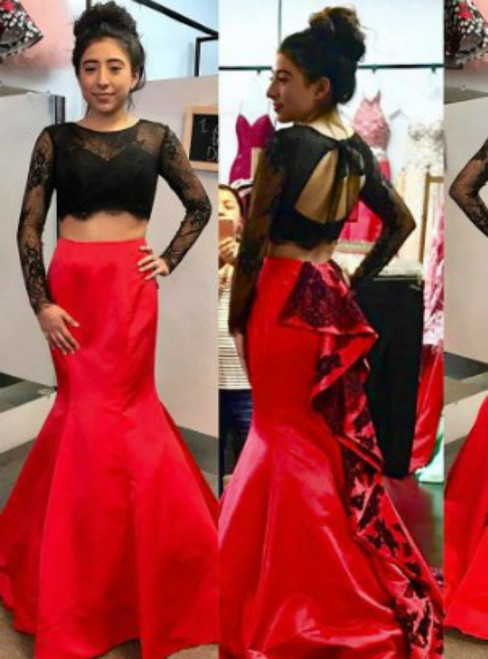 Black Lace Bodice Red Skirt  Long Sleeves 2 Pieces Mermaid Prom Dresses