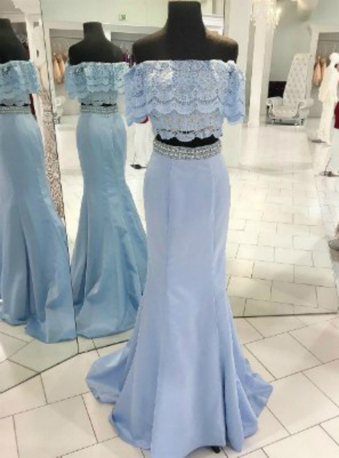 Blue Two-Piece Off-the-Shoulder Lace Mermaid Long Prom Dress