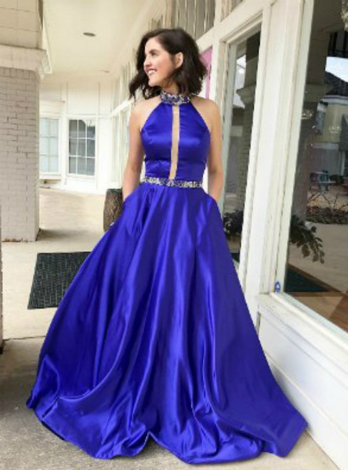 High Neck Royal Blue Satin Long Prom Dress with Pockets