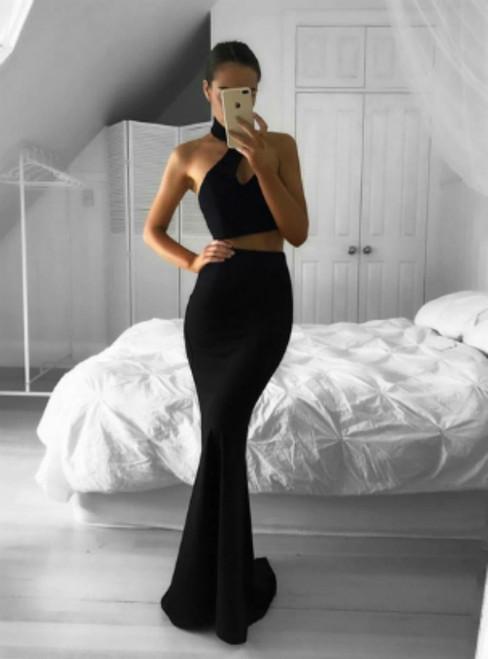 Black Halter Two Piece Formal Backless Mermaid Prom Dress