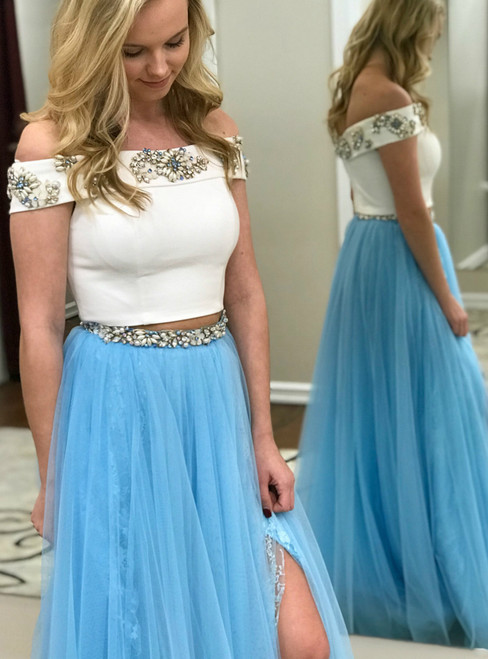 Two Piece Off the Shoulder White and Blue Tulle Prom Dress with Side Slit