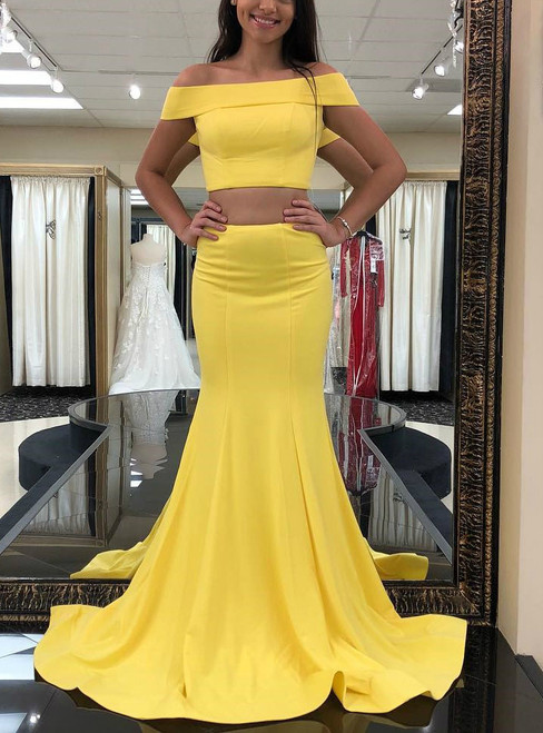 Two Piece Off the Shoulder Yellow Mermaid Satin Long Prom Dress