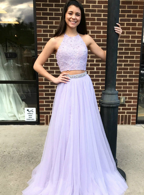Lavender Two Piece Halter With Lace Appliques Prom Dress