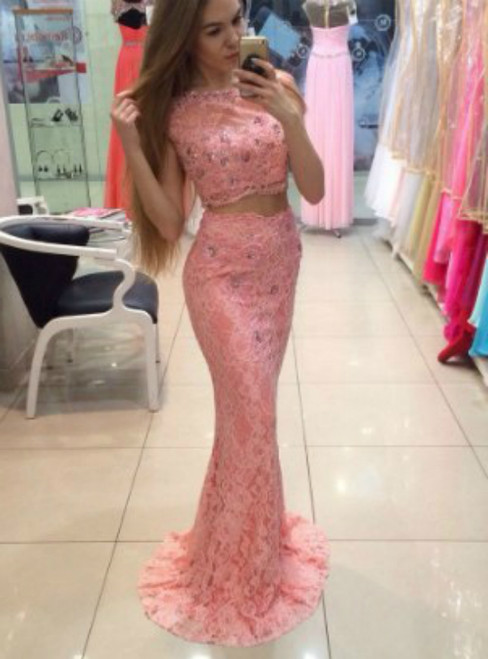 Pink Two Piece Lace Mermaid Sleeveless Prom Dress