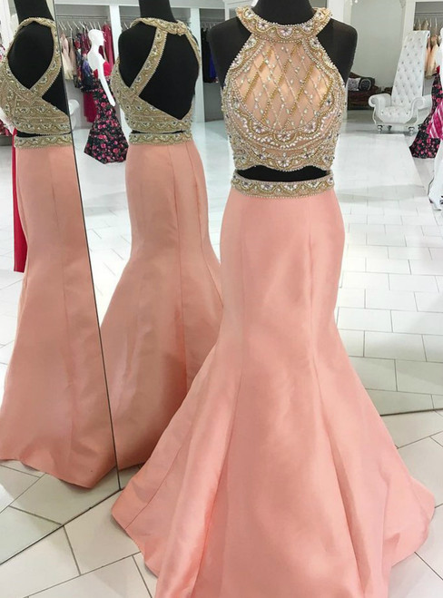 Pink Two Piece Satin Halter Backless With Beading Prom Dress