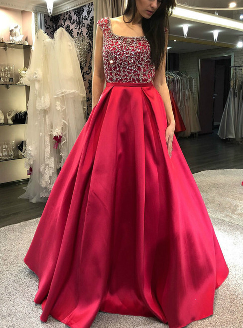 Red Satin Backless Beading Sleeveless Prom Dress