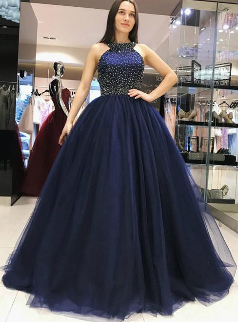 Navy Blue Halter Beading Backless Tulle Prom Dress