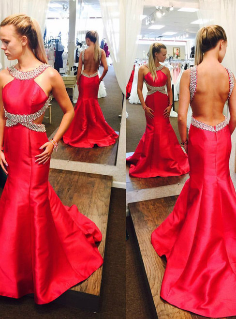 Mermaid Red Satin Halter Beading Backless Prom Dress