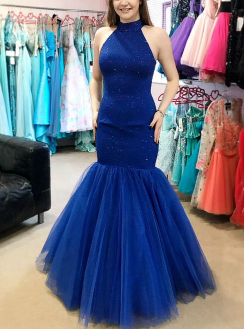 Sexy Mermaid Blue Tulle Halter Backless Prom Dress