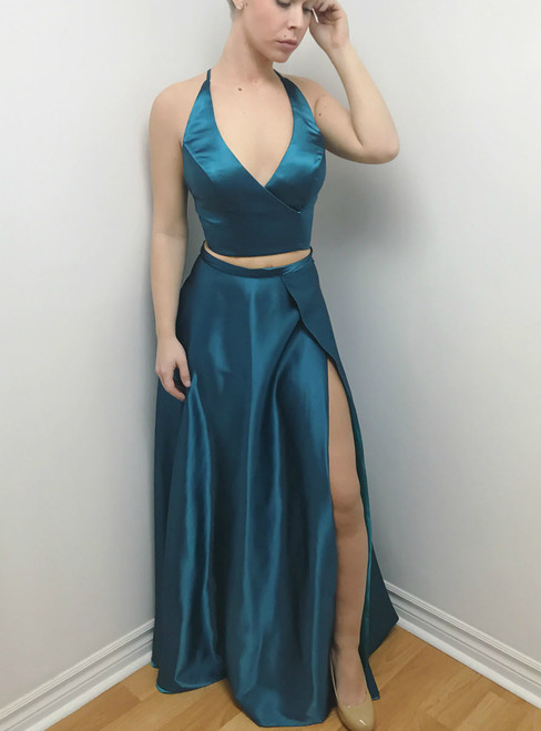 V Neck Two Piece Blue Satin Backless With High Slit Prom Dress