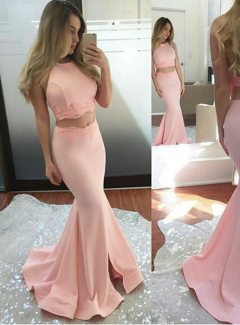 Pink Satin Mermaid Halter Two Piece Backless Prom Dress