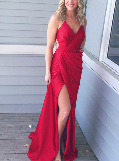 Red Backless Sheath V Neck  With Side Slit Prom Dress