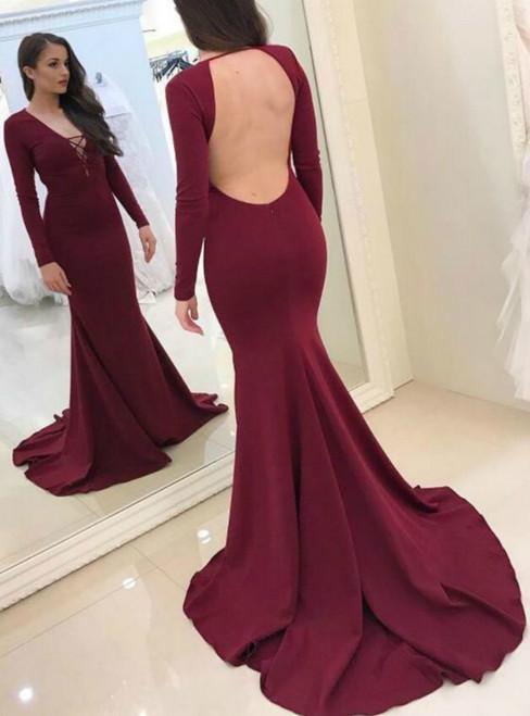 0cb8c736449ea Sexy Mermaid Burgundy V-neck Long Sleeve Backless Prom Dress
