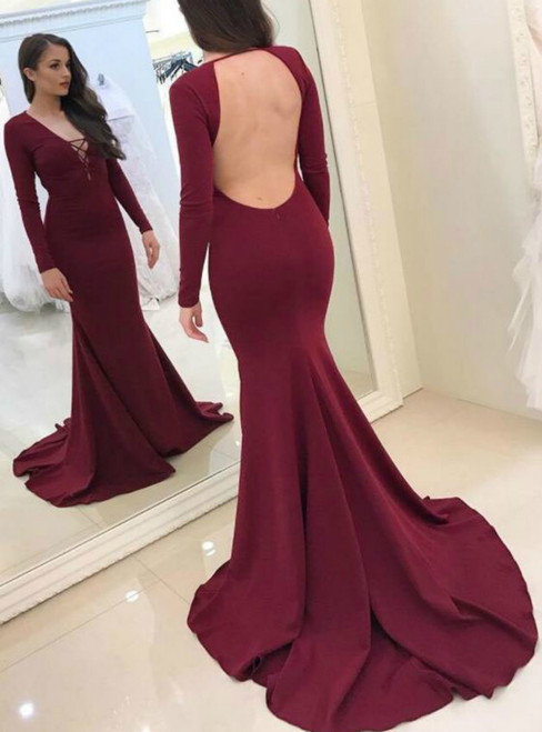 Sexy Mermaid Burgundy V-neck Long Sleeve Backless Prom Dress