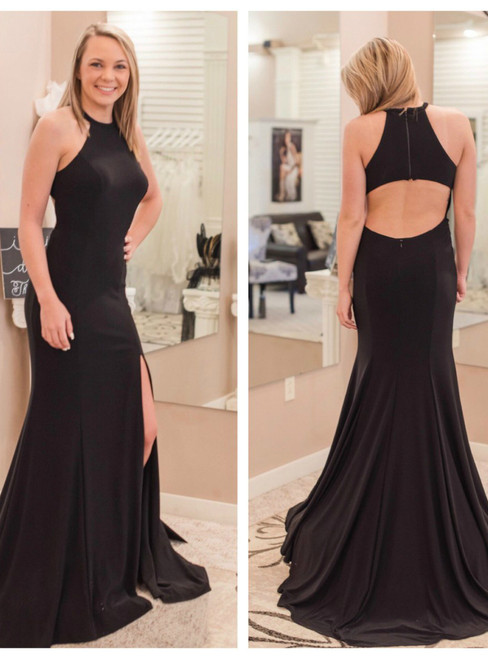 Mermaid Black Halter Chiffon Backless Prom Dress With Side Slit