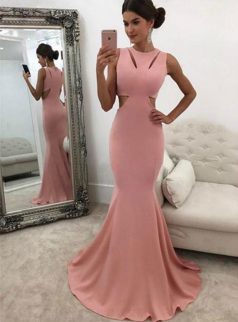 Pink Mermaid Satin Cut Out Sheath Prom Dress