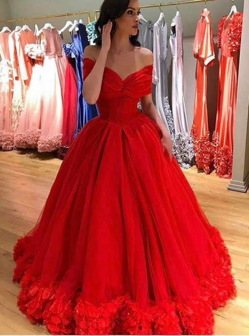 Red Ball Gown Off The Shoulder Tulle Appliques Quinceanera Tulle Prom Dresses