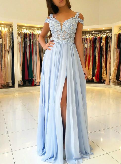 Off the Shoulder Blue Lace Split Long Chiffon Prom Dress