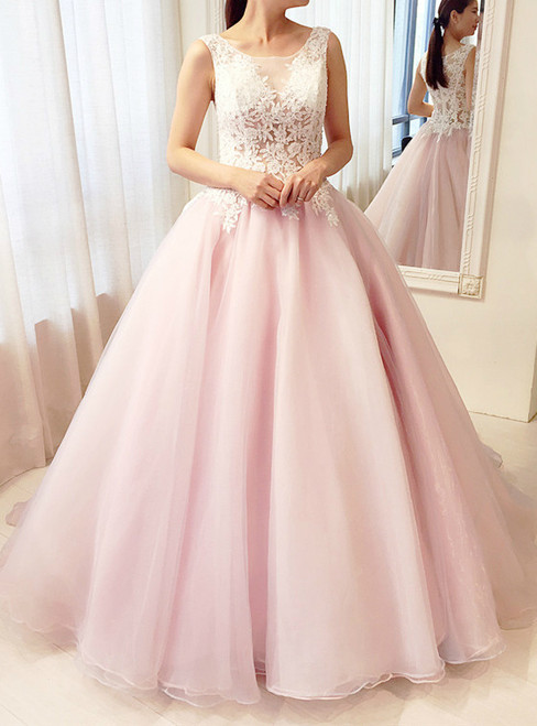 Pink Sleeveless Ball Gown Lace Wedding Dress
