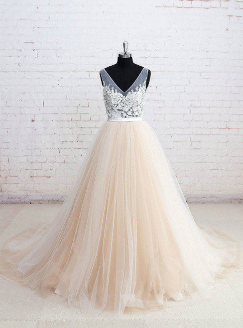 V-neck See-through Bodice Champagne Tulle Wedding Dresses
