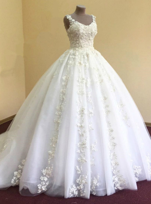 Ball Gown Appliques Flower Long Tulle Bridal Wedding Dress