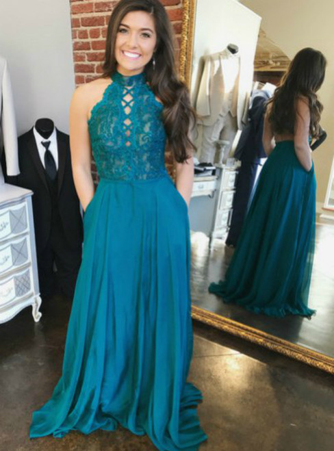 High Neck Blue Halter Chiffon Backless Prom Dress With Pockets