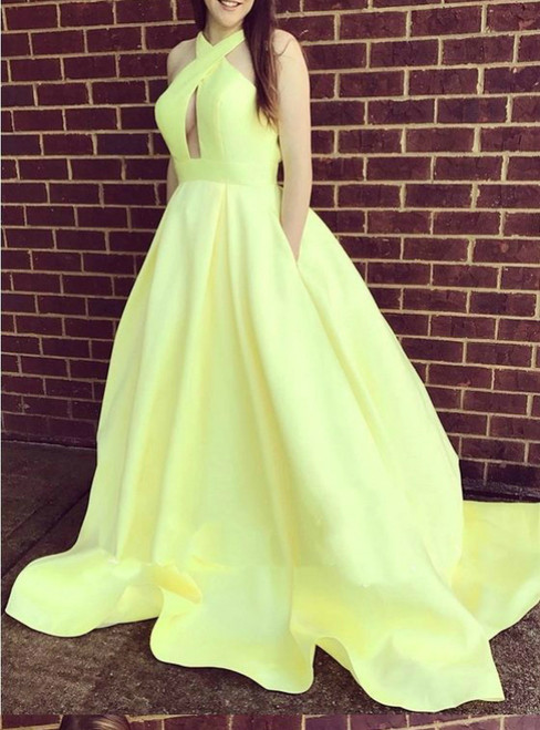 A Line Brush Train Halter Satin Backless Prom Dress